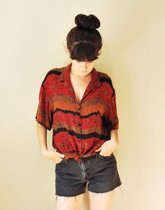 Vintage 1980's Patterned Shirt, Button Down 80's Shirt, Grunge Hipster Clothing