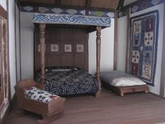 A bedroom in a Tudor dolls house