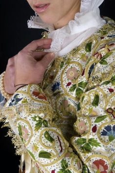 The gorgeous jacket was on loan from Plimoth Plantation in Massachusetts to the Textiles Gallery in Wilmington, Delaware. Check it out!