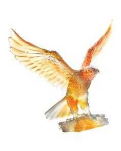 Daum  Gray/Amber Eagle Sculpture