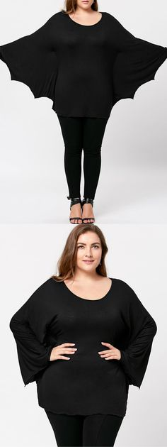 Plus Size Batwing Sleeve Tee