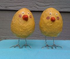 Paper Mache Yellow Chicks  Set of 2 by WendysMache on Etsy, $8.00