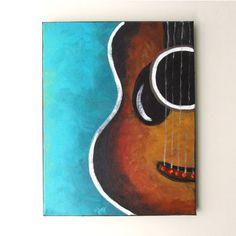 GUITAR, Original Canvas Painting, 11x14 acrylic, Music Decor