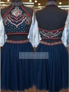 Ddaydress Stylish High Neck Flower Beading Navy Blue Two Piece Crop Top Homecoming Dress at www.d-daydress.com #ddaydress