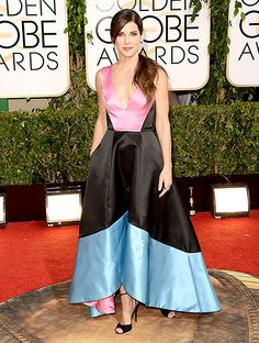 Sandra Bullock wears a colorful Prabal Gurung dress at the 2014 Golden Globes