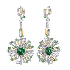 Chow Tai Fook - The Meadox earrings - The Cambodian diverse ecosystem comes alive in this set of three adorned by natural green and red jade, icy jade, white and yellow diamonds, all set in 18K yellow and white gold.