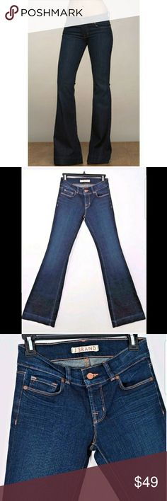 """J Brand dark wide bell bottom jeans Size: 26  New without tags.  Measurements were taken with garment laying flat and are approximate:  Rise: 8""""  Waist: 14"""" across  Inseam: 34""""  Inv1511 J Brand Jeans Flare & Wide Leg"""