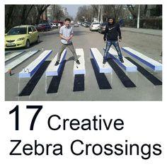 17 creative zebra crossings Check them all at: http://illusionofboredom.com/17-remarkable-creative-zebra-crossings/
