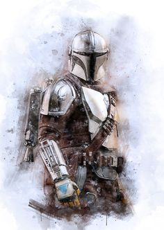 """Watercolour portrait of Din Djarin main character from """"The Mandalorian"""" series Droides Star Wars, Star Wars Baby, Star Wars Fan Art, Star Wars Boba Fett, Boba Fett Art, Mandalorian Poster, Boba Fett Mandalorian, Bvb Wallpaper, Star Wars Wallpaper"""