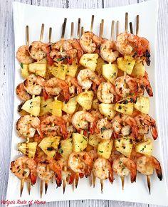 Camping food, easy recipe, fresh pineapple juice, grilled hawaiian shrimp k Shrimp Kabob Recipes, Grilled Shrimp Skewers, Kebab Recipes, Seafood Recipes, Pork Rib Recipes, Grilling Recipes, Cooking Recipes, Grilling Ideas, After School