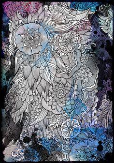 Intricate Hand-Drawn Flowers Direct from Olka's Sketchbooks Doodle Inspiration, Art Journal Inspiration, Doodles Zentangles, Zentangle Patterns, Doodle Drawings, Doodle Art, Pencil Drawings, Illustrations, Illustration Art