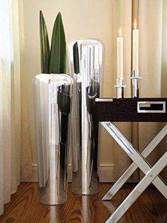 Fink TUTZI Bodenvase, versilbert Höhe: 70cm, Durchmesser: 22, 5cm