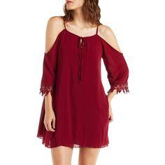 Charlotte Russe Gauzy Cold Shoulder Shift Dress with Crochet Trim