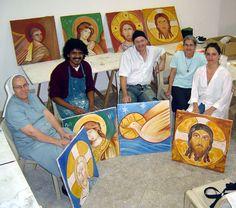 Aula de afrescos, no atelier Aghios Mandilion, de Sao Paulo. Igreja Nossa Senhora do Paraíso