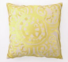 Trina Turk Yellow Rustic Medallion Embroidered Pillow