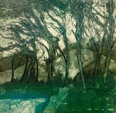 """""""Untitled"""" by Sarah Ross Thompson (Undated) Landscape Drawings, Abstract Landscape, Landscape Paintings, Landscapes, Collagraph Printmaking, Surrealism Painting, Drawing Projects, Sketch Painting, Print Artist"""