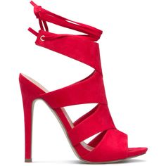 ShoeDazzle Sandals-Dressy - Single Sole Elisabeth Womens Red ❤ liked on Polyvore featuring shoes, sandals, red dressy shoes, cut out sandals, cutout shoes, red shoes and high heel shoes