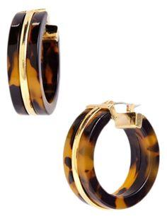 89f4ec6d9 Lauren Ralph Lauren faux tortoise shell hoop earrings, $34 #HoopEarrings  Decoração Animal Print,