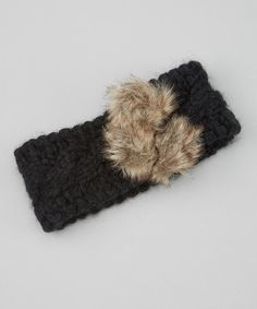 Look what I found on #zulily! Black Faux Fur Puff Headband #zulilyfinds