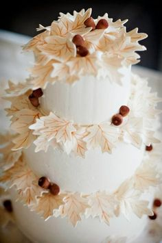 Cake - leaves and acorns - from Fall Into Sweets on Cake Wrecks. By Sin (eatwicked.com). Love this. The design is so clean and beautiful.