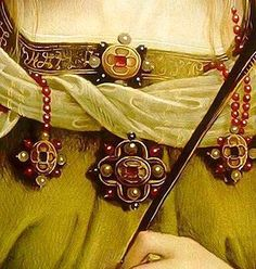 Saint Catherina of Alexandria - Detail of Virgin and Child with Saint Rose and Saint Catherina of Alexandria and two Angels by Pietro Perugini Renaissance Fashion, Alexandria, Brooch, Cosplay, Belt, Detail, Accessories, Beautiful, Angels