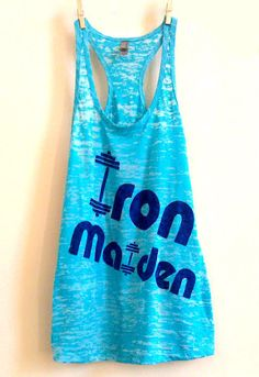 "Large Teal / Turquoise Women's ""Iron Maiden"" Crossfit/ Fitness / Workout Tank Top. $22.00, via Etsy."