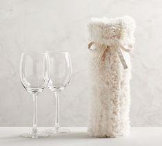 ef90f4c239 Knitted Faux Fur Wine Bag. Christmas DinnerwareWine CharmsFaux FurServewareBottleWine  BagsKnittingGiftsPottery Barn