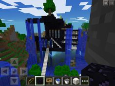 Minecraft water fall house.