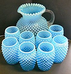 Blue Opalescent Hobnail Fenton Pitcher and Tumbler Set Fenton Glassware, Antique Glassware, Antique Lamps, Bell Design, Glass Ceramic, Carnival Glass, Glass Collection, Colored Glass, Decoration