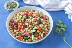 Mediterranean Chickpea Salad | dairy free chickpea salad, healthy salad, vegan chickpea salad, garbanzo bean salad, mediterranean salad, greek chickpea salad #chickpea #salad #mediterranean #dairyfree #vegan | @simplywhisked