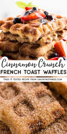 Cinnamon Crunch French Toast Waffles This is the BEST recipe for easy homemade french toast sticks! Made in a waffle iron and coated in delicious cinnamon sugar for that special crunchy churro t Churro French Toast, Homemade French Toast, French Toast Waffles, Cinnamon French Toast, French Toast Bake, French Toast Sticks, Simple French Toast Recipe, French Toast Recipes, French Waffle