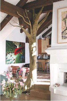 Paper mache tree indoors... Would match the birch theme...