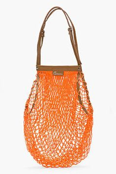 CARVEN Orange Leather-Trimmed Net Bag