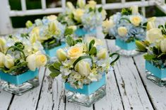 Using Blue Wedding Flowers in Your Wedding Bouquets, Centerpieces and Flower Arrangements White Floral Centerpieces, Small Centerpieces, Wedding Centerpieces, Wedding Table, Wedding Decorations, Inexpensive Centerpieces, Wedding Ideas, Blue Wedding Flowers, Wedding Flower Arrangements