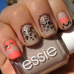 Colors Used: Essie 'Sand Tropez' & 'Tart Deco'; Love Angeline 'Poisoned love @Chelsea Rose Rose Rose Cunningham