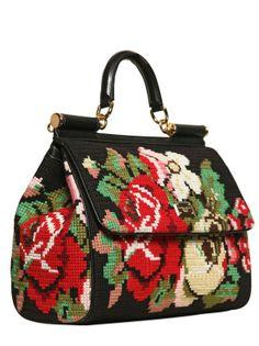 Dolce & Gabbana Miss Sicily Cross Stitched Top Handle in Black (multi) Handmade Handbags, Handmade Bags, Basket Bag, Crochet Handbags, Branded Bags, Womens Purses, Vintage Bags, Evening Bags, Mini Bag