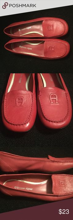 Etienne Aigner red leather loafers EA , style E-Joey, size 6M. Leather, rubber soles. New shoes, bought as samples for showroom. Great shape Aigner Shoes Flats & Loafers