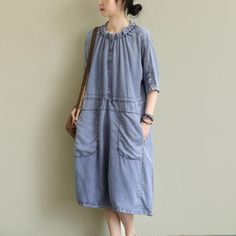 Gender: WomenPattern Type: SolidSleeve Type: Mid SleeveMaterial: DenimNeckline: Shirt CollarOccasion: Holiday, DailyStyle: Daily, CasualTheme: Summer,Spring One SizeLength: cm/ cm/ ''Sleeve Length: cm/ Denim Pants, Jeans, Armors, Retro Dress, Types Of Sleeves, Daily Fashion, How To Look Better, Folk, Girl Outfits