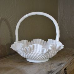 Vintage Fenton Hobnail Milk Glass Basket, Wedding, Centerpiece, Holiday,