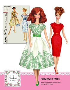 Fabulous Fifties sewing pattern for 12 fashion dolls Barbie Sewing Patterns, Simplicity Sewing Patterns, Doll Clothes Patterns, Doll Patterns, Clothing Patterns, Vintage Barbie Clothes, Vintage Sewing, Dolly Doll, Barbie Dress