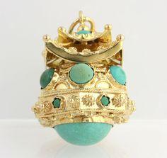 Vintage Chunky Etruscan Fob Oriental Temple Turqoise Charm - High Karat 18k Yellow Gold Pendant...
