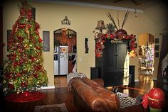 Entire room tied together beautifully for Christmas!