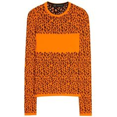Versace Knitted Sweater ($1,000) ❤ liked on Polyvore featuring tops, sweaters, orange, orange top, orange sweater, versace sweater, versace top and versace