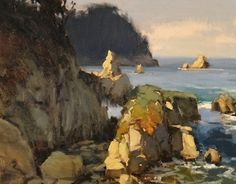 Afternoon at Whalers Cove, Pt Lobos by Brian Blood - Oil