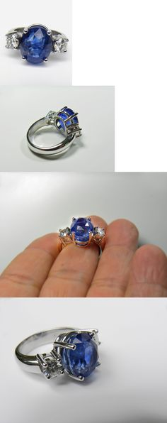 Rings 165044: Gia Certificate 11.00Ct Natural Untreated Blue Sapphire Diamond Ring 18K Gold BUY IT NOW ONLY: $18594.88