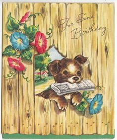 Vintage Dog with Head Through Fence Birthday Greeting Card