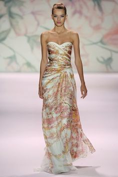 Monique Lhuillier tropical wedding dress - I like this for my bridesmaids