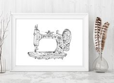 Vintage Sewing Machine, Treadle Sewing Machine, Digital Download Print, Sewing Machine Illustration, Sewing Shop, Antique Sewing Machine by JensCreativeStore on Etsy https://www.etsy.com/listing/494582407/vintage-sewing-machine-treadle-sewing