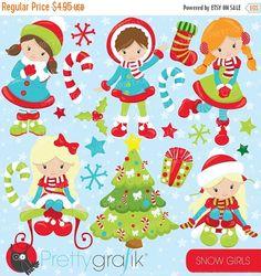 80% OFF SALE Christmas girls clipart by Prettygrafikdesign on Etsy