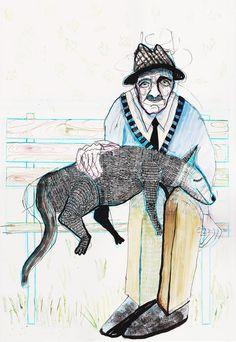 grandpa and strange dog